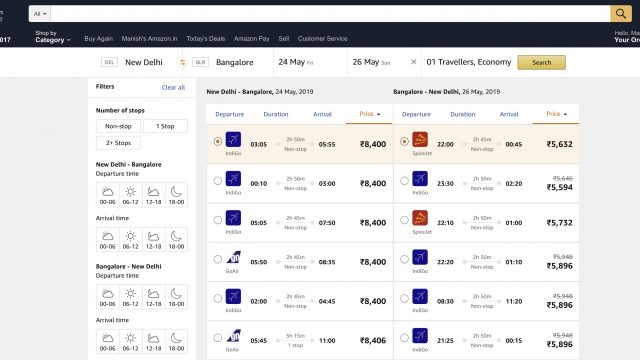 Amazon now sells flight tickets in India